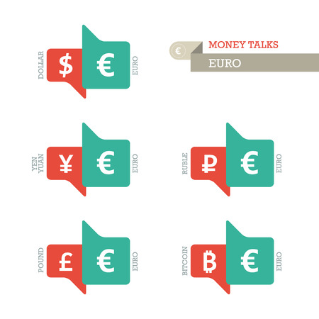 mainstream: Mainstream Euro Dollar Yen Yuan Bitcoin Ruble Pound currency symbols on up and down sign.