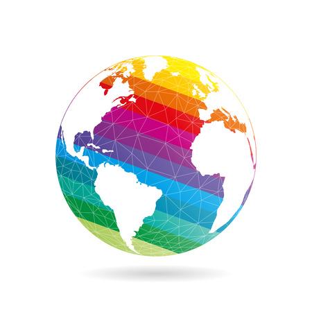 Geometrico astratto pianeta terra concetto sfera illustrazione. Grafica vettoriale modello isolato su sfondo bianco di luce.