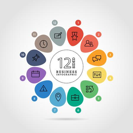 Wohnung Blume geformt abstrakte Darstellung Infografik Chart. Mit Symbolen nummeriert. Isoliert auf weißem Hintergrund. Vektor-Grafik-Vorlage. Standard-Bild - 41742300