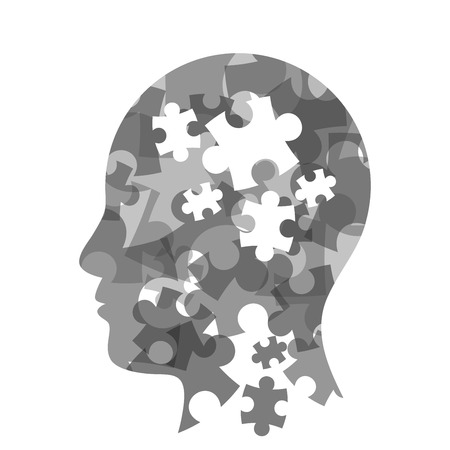 Colorful puzzle head concept presentation. Vector illustration graphic template. Isolated on white background.