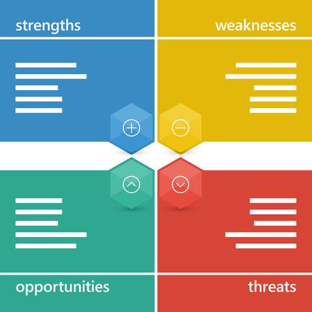 Colorful geometric swot business diagram chart.  Ilustração