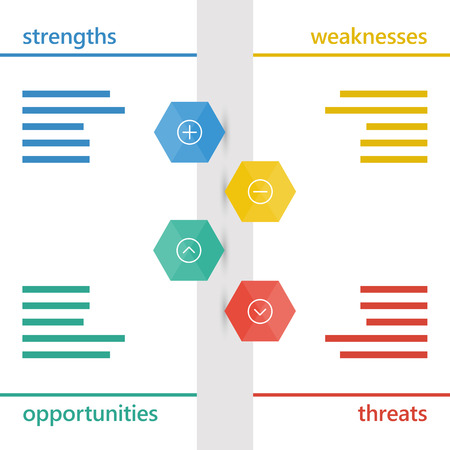 Colorful geometric swot business diagram chart.   イラスト・ベクター素材