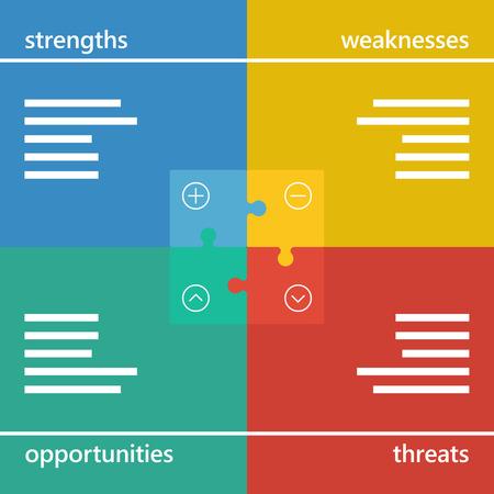 swot: Colorful geometric swot business diagram chart.