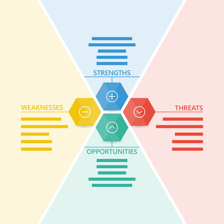 threat: Colorful geometric swot business diagram chart.  Illustration