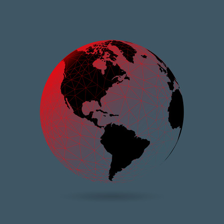 Geometric abstract earth globe sphere concept illustration. Vector graphic template isolated on dark background. Ilustração