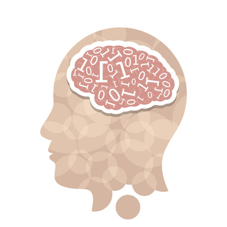 Head with computer brain concept presentation.