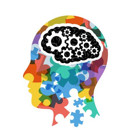 Hoofd met computer hersenen begrip presentatie.