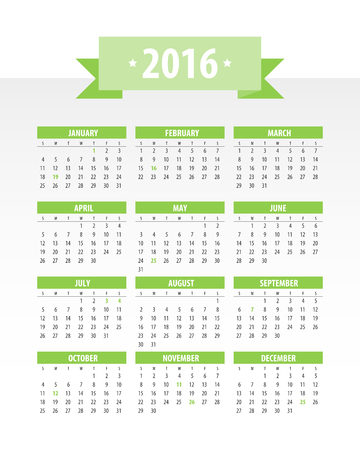 Colorful 2016 Calendar. Week starts with monday. Vector graphic template.