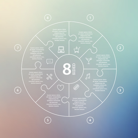 Business concept with options, parts, steps or processes. Circle puzzle infographic. Template for cycle diagram, graph, presentation and round chart. Vector blur background. Ilustração
