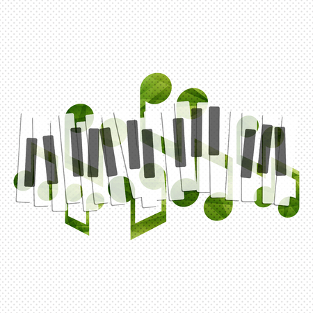 Piano music creative concept illustration. Vector graphic template.
