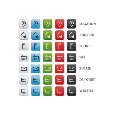Mehrzweck-Visitenkarte Set von Web-Icons für Wirtschaft, Finanzen und Kommunikation. Vektor-Grafik-Vorlage auf weißem Hintergrund. Standard-Bild - 46791304