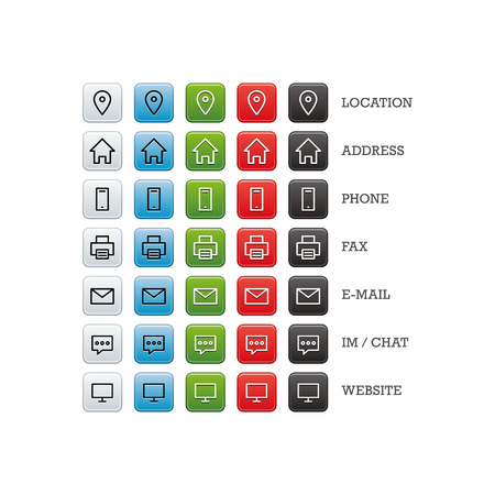 multipurpose: Multipurpose business card set of web icons for business, finance and communication. Vector graphic template isolated on white background.