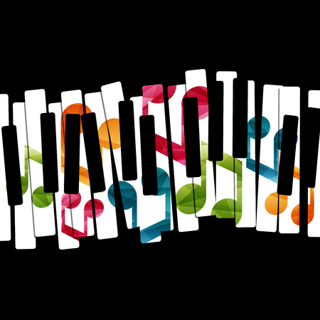 iconos de m�sica: M�sica de piano creativa ilustraci�n del concepto. Vector plantilla gr�fica.