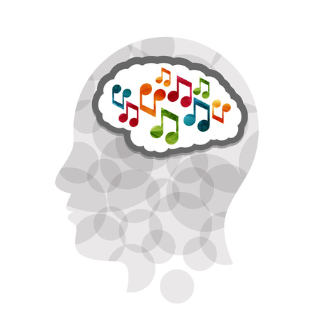 Music head creative concept illustration. Vector graphic template.