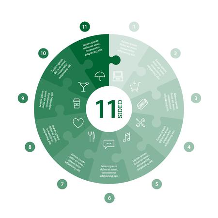 Wohnung monocolor puzzle Präsentation Infografik Chart. Mit Symbolen und erklärenden Text auf weißem Hintergrund nummeriert. Vektor-Grafik-Vorlage. Standard-Bild - 47450312