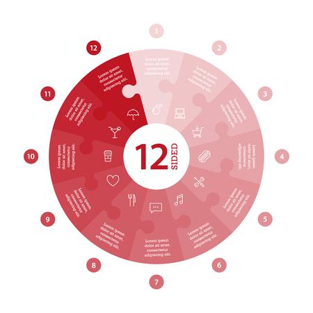 Wohnung monocolor puzzle Präsentation Infografik Chart. Mit Symbolen und erklärenden Text auf weißem Hintergrund nummeriert. Vektor-Grafik-Vorlage. Standard-Bild - 47450319