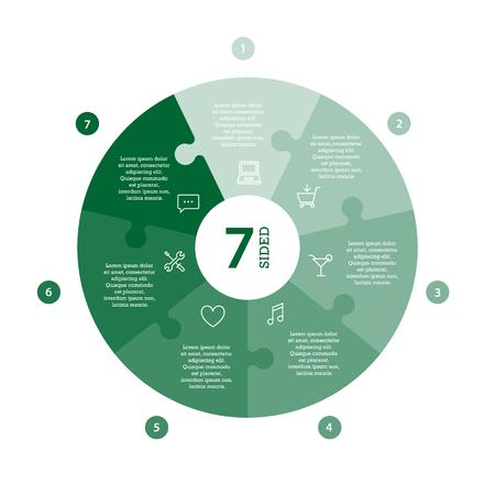 Wohnung monocolor puzzle Präsentation Infografik Chart. Mit Symbolen und erklärenden Text auf weißem Hintergrund nummeriert. Vektor-Grafik-Vorlage. Standard-Bild - 47450321