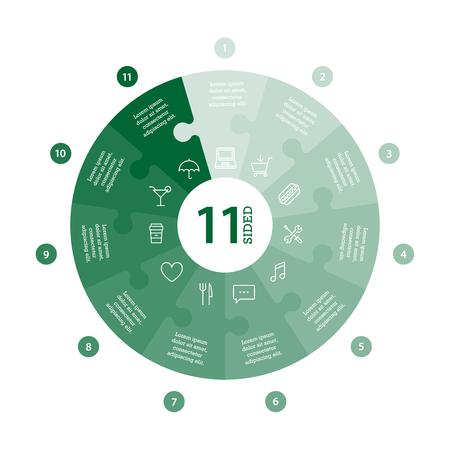 Wohnung monocolor puzzle Präsentation Infografik Chart. Mit Symbolen und erklärenden Text auf weißem Hintergrund nummeriert. Vektor-Grafik-Vorlage. Standard-Bild - 47450323