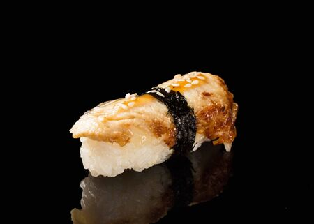 А traditional dish of Asian cuisine.Sushi with eel.Seafood.