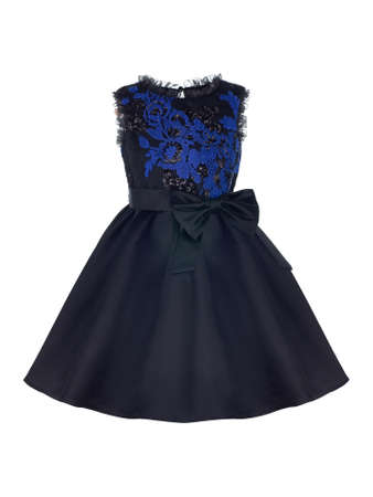 Elegant dress for a girl in black with a blue insert