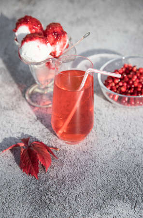 Morse of red cranberries and ice cream with jam in a glass bowl, red autumn leaves on the table. A place for the space mine. Vertical orientation