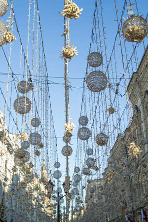 Light bulb decor in outdoor party in the center of Moscow