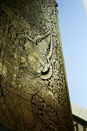 glod: The Thai painting door Stock Photo