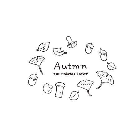 Mushroom and fallen leaves Autumn motif line