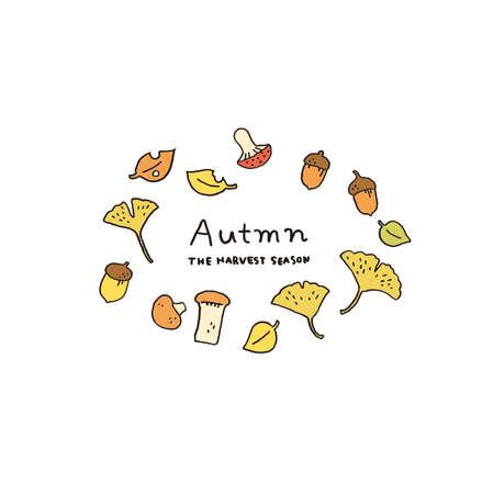 Mushroom and fallen leaves Autumn motif