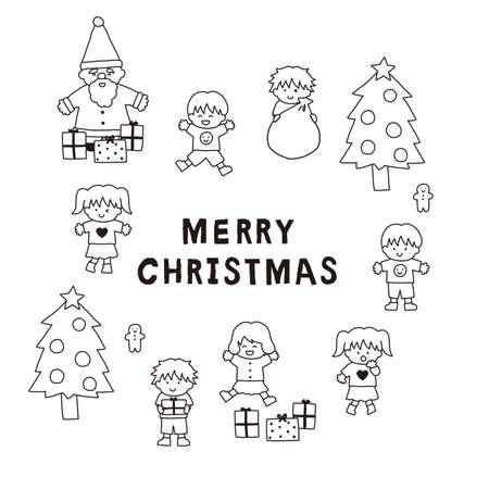Christmas Santa Claus and Children's Line Art Illustration Set