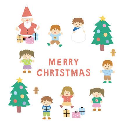 Christmas Santa Claus and Children's Illustration Set