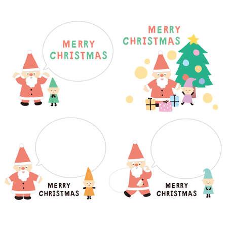 Christmas Santa Claus and Dwarf Balloon Illustration Set 写真素材