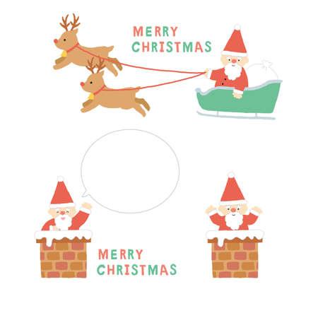 Illustration set of sleds, chimneys and Santa Claus Reklamní fotografie