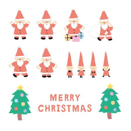 Christmas Santa Claus and Dwarf Illustration Set Reklamní fotografie