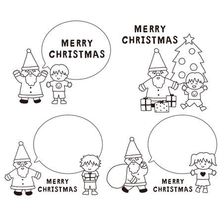 Black and white illustration set with Santa Claus and children's balloons