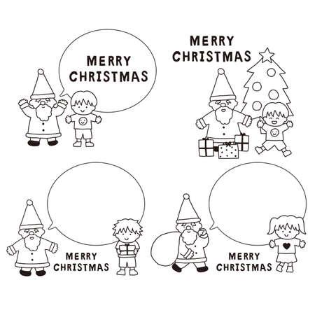 Black and white illustration set with Santa Claus and children's balloons Reklamní fotografie - 151117974