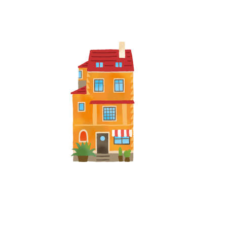 Illustration of a stylish house in Europe