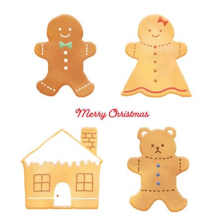 Christmas Ginger Cookie Illustration Set