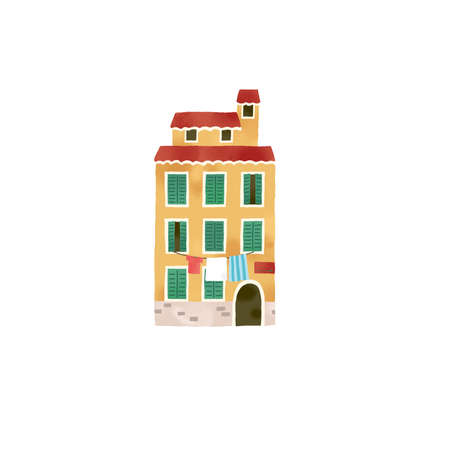 Illustration of a fashionable house in Italy