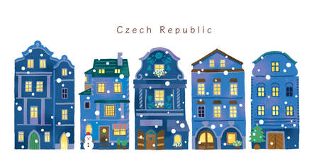 Stylish winter night house illustration set in Europe