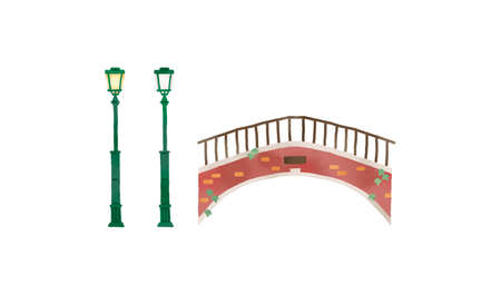 Illustration of fashionable bridges and street lights in Italy
