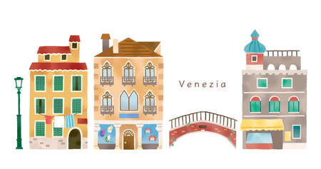 Illustration set of fashionable cities in Italy