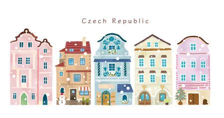 Stylish winter house illustration set in Europe Reklamní fotografie