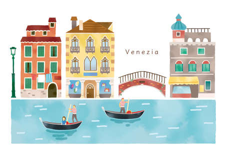 Illustration set of fashionable streets and canals in Italy Reklamní fotografie