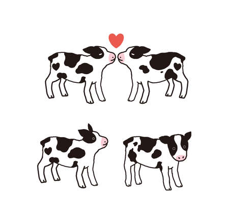 Illustration material 2021 ox year cut of cow illustration
