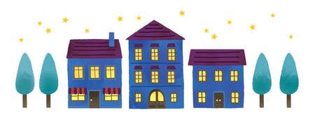 An illustration set of orthodox night streets Reklamní fotografie