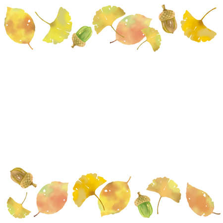 Autumn motif up and down studded ginkgo