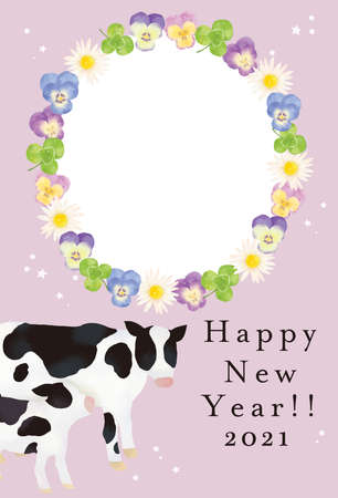 Illustration Material 2021 Year New Year's card template of the illustration of the cow Reklamní fotografie - 152603869