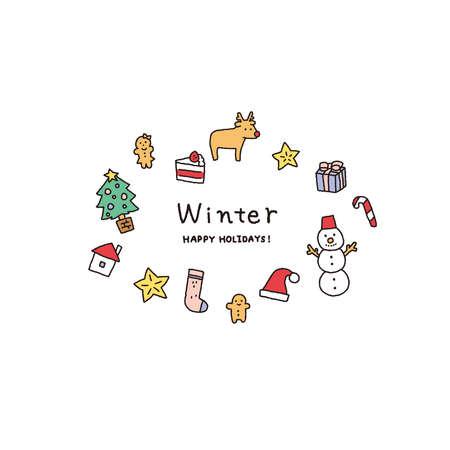 Christmas and winter motif illustration set Reklamní fotografie - 152603873