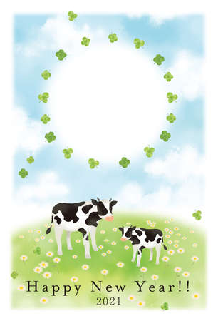 Illustration Material 2021 Year New Year's card template of the illustration of the cow Reklamní fotografie - 152828824